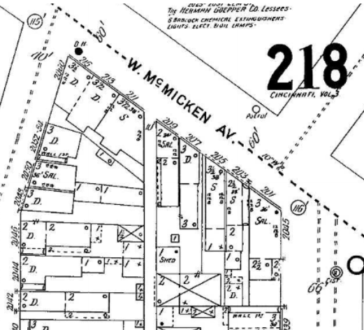 Birds-eye view of Adeline's childhood/teenage home at 205/207 W. McMicken. Most of those buildings behind the main structures were a part of her family's mineral water business—but also included back there was the family privy. Not much privacy for a young woman. Sanborn Insurance Map, 1904. Courtesy of the Public Library of Cincinnati and Hamilton County.