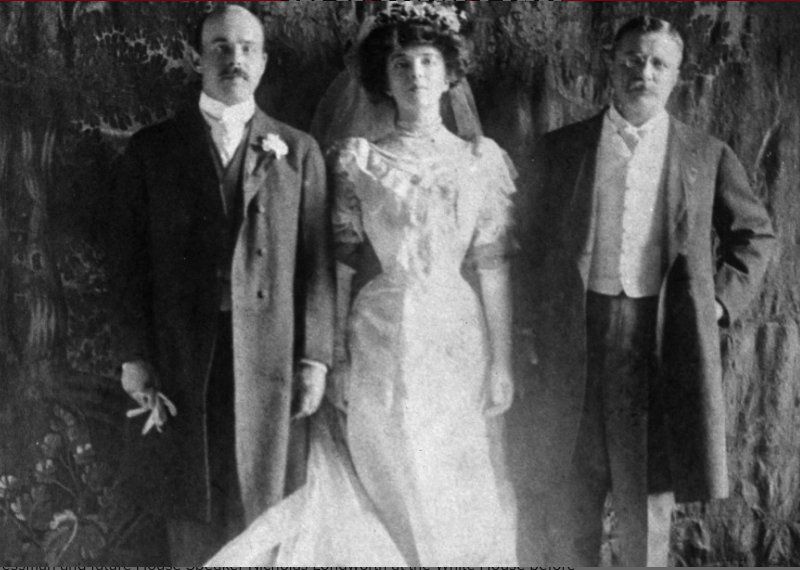 Nicholas Longworth II, Alice Roosevelt Longworth and her father President Teddy Roosevelt, 1905. Courtesy of  New York Post .
