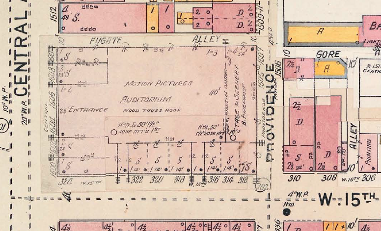 Updated view of the block of 1504 Central. This Sanborn Insurance Map, accurate to the 1930s, shows the theater on Central Avenue. Courtesy of the Public Library of Cincinnati and Hamilton County.