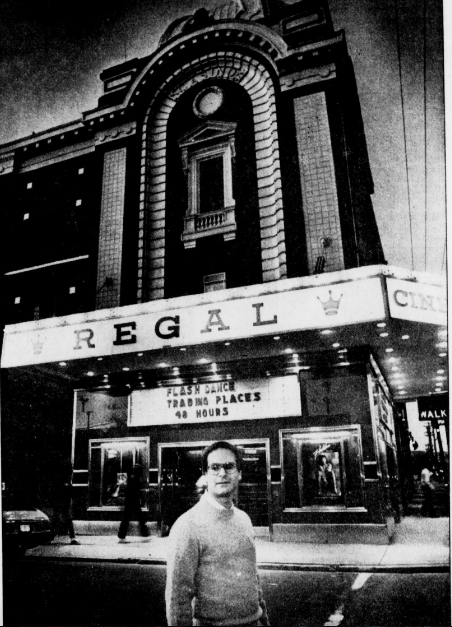 Gary Goldman in front of the Regal in 1983.  Cincinnati Enquirer , November 26, 1983. Courtesy of the Public Library of Cincinnati and Hamilton County.