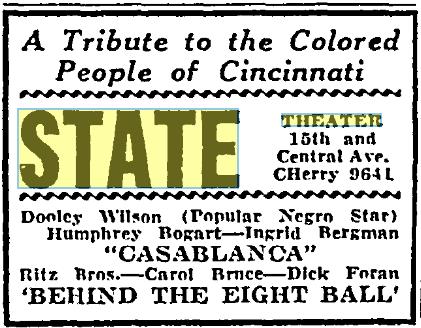 Cincinnati Post , September 1, 1943. Courtesy of the Public Library of Cincinnati and Hamilton County.