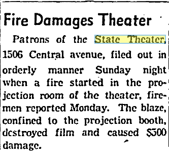 The building suffered from two (fairly minor) fires in the 1940s.  Cincinnati Post , July 6, 1942. Courtesy of the Public Library of Cincinnati and Hamilton County.