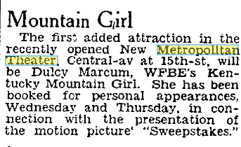 """The Metropolitan Theater featured radio personality Dulcy Marcum and her dulcimer. By the 1930s, it had a lot of """"hillbilly"""" (what we would call bluegrass or country) musicians playing there.  Cincinnati Post , December 2, 1931. Courtesy of the Public Library of Cincinnati and Hamilton County."""