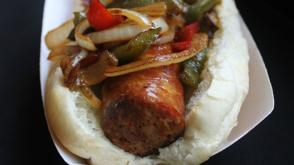 Gianelli Sausage - Made with a sweet Italian sausge from Gianelli and topped with peppers & onions.