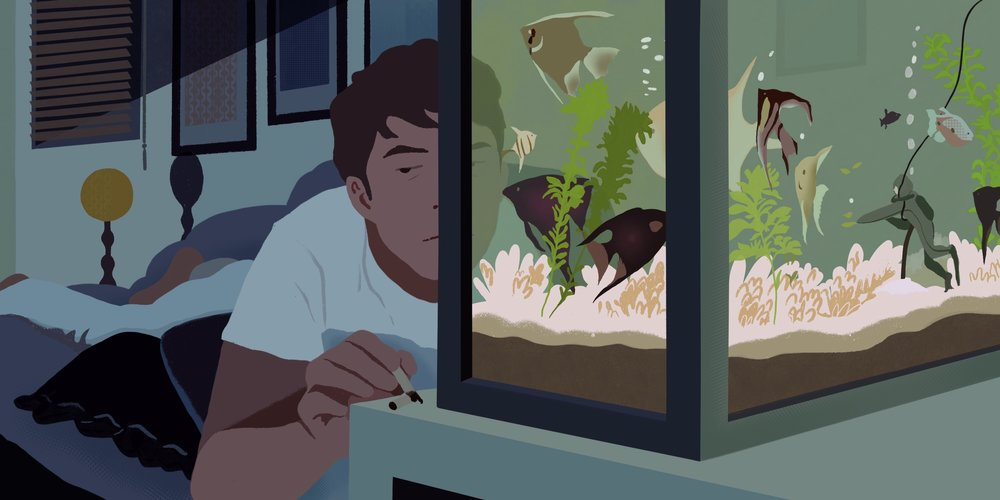 Hello darkness, my old friend (The Graduate, 1967)  This was a brief scene with no dialogue, but I chose to illustrate it because of the beautiful color scheme and the director's interesting use of the fish tank. I felt that Benjamin was relating to his fish confined by the tank, and the image of being stuck in water was repeatedly used throughout the movie as a motif.
