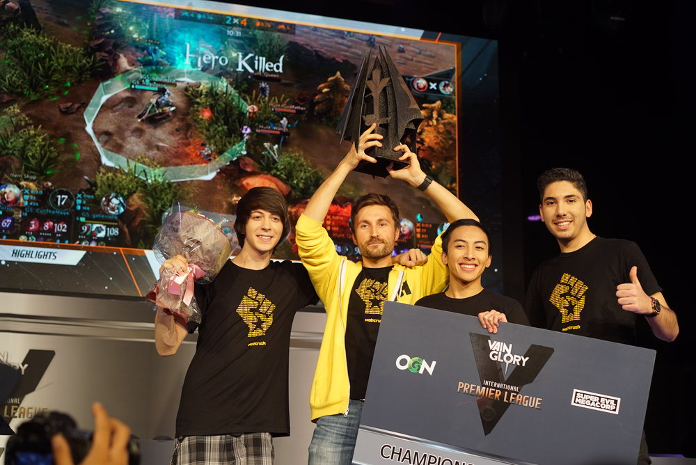 CullTheMeek, Pwnt, gabevizzle, & IraqiZorro after winning 1st VG World Championship in 2015