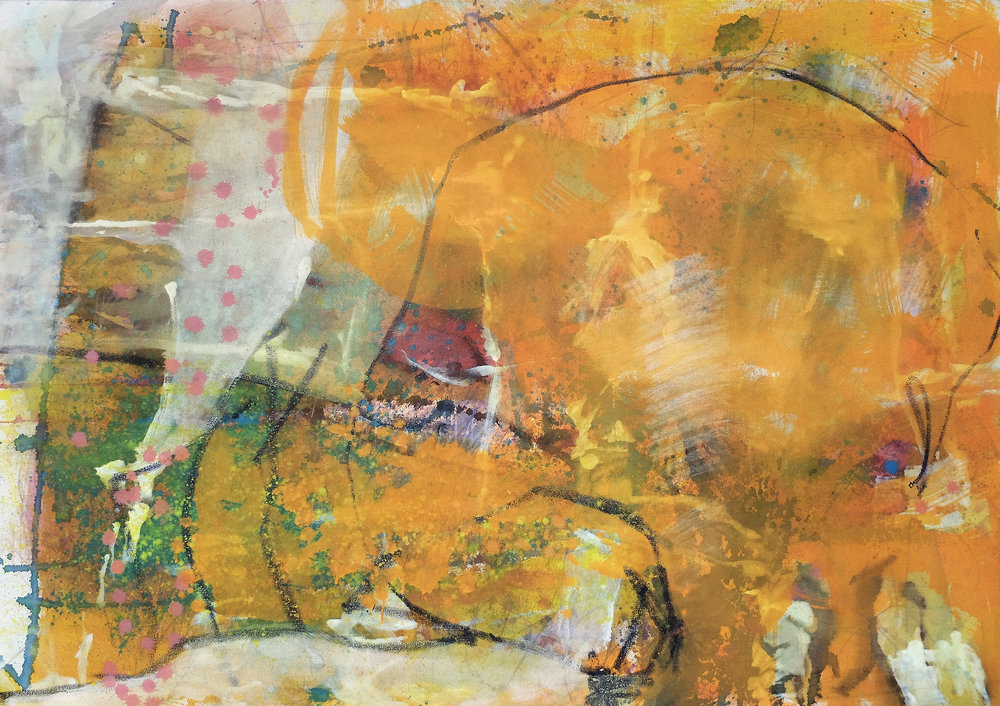 Untitled 3, 2015, Acrylic, oil pastel, coloured pencil on canvas, 98 x 140 cm