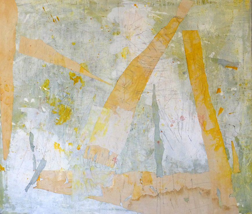 Untitled 3, 2014, Acrylic, oil pastel, coloured pencil, paper collage on canvas, 120 x 140 cm