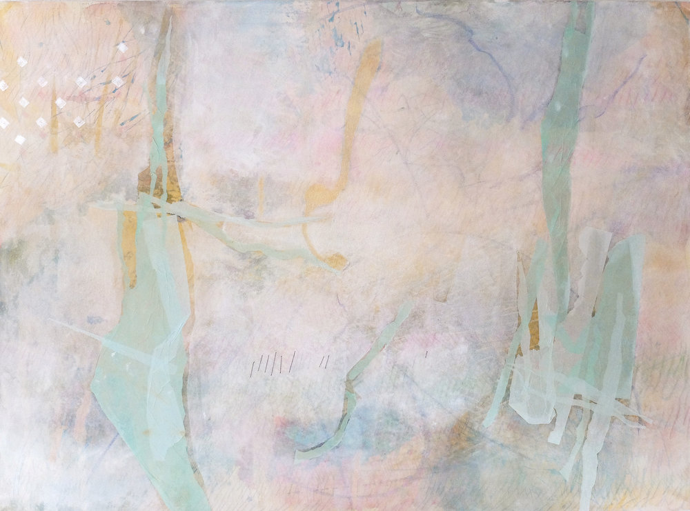 Untitled 6, 2015, Acrylic, oil pastel, soft pastel, coloured pencil, paper collage, thread on canvas, 94 x 132 cm