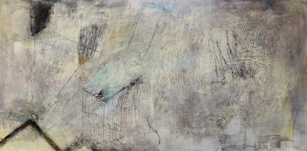 Untitled 12, 2012, Acrylic, oil pastel, coloured pencil, fabric collage on canvas, 80 x 160 cm