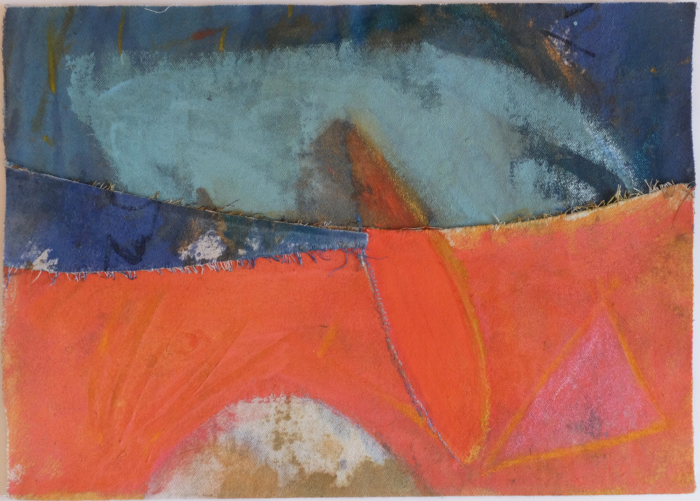 Untitled 7, 2000, Acrylic, oil pastel, fabric collage on canvas, 26 x 36 cm