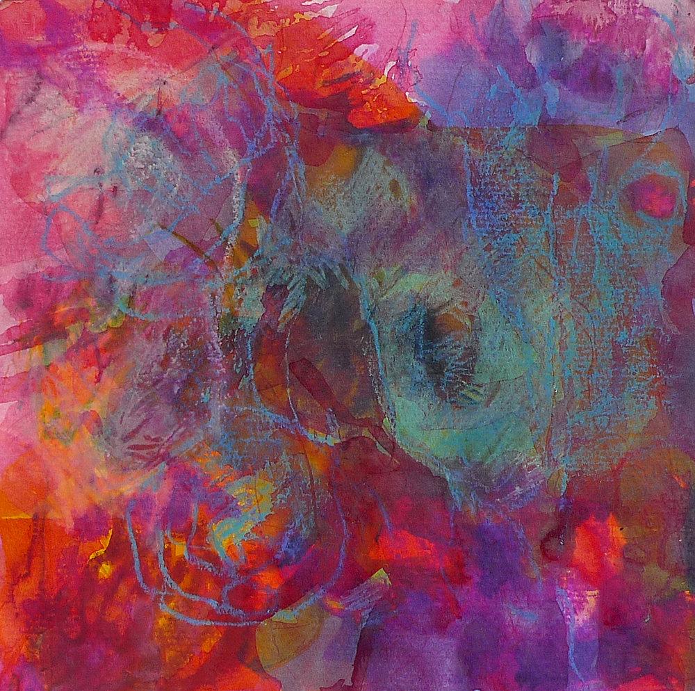 Untitled 9, 2016, Acrylic, oil pastel, ink on paper, 20 x 20 cm, Stuttgart, Germany