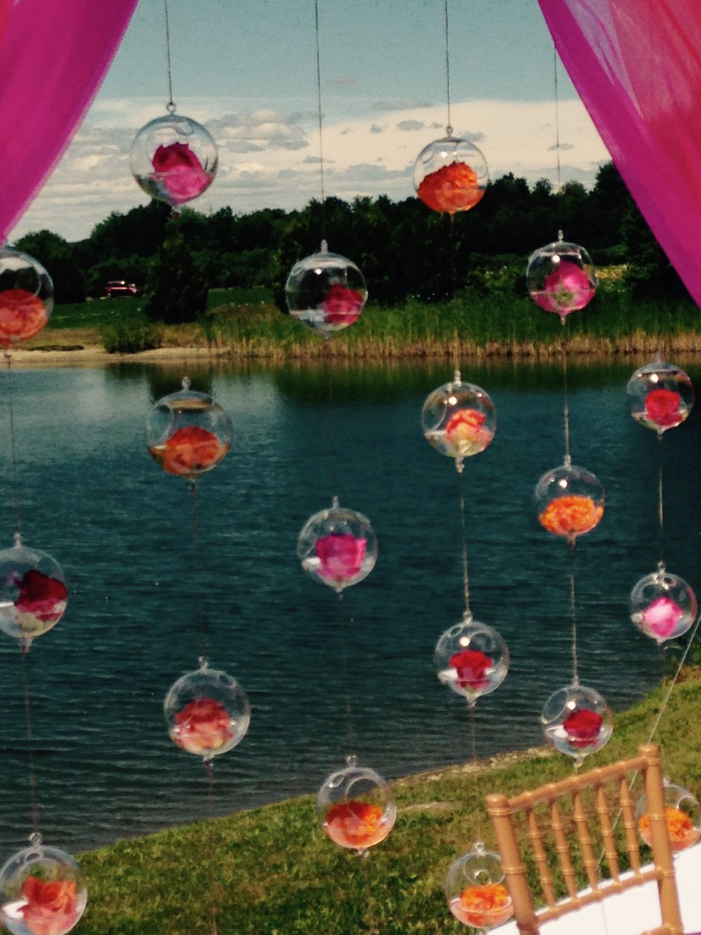 Hanging floral orbs