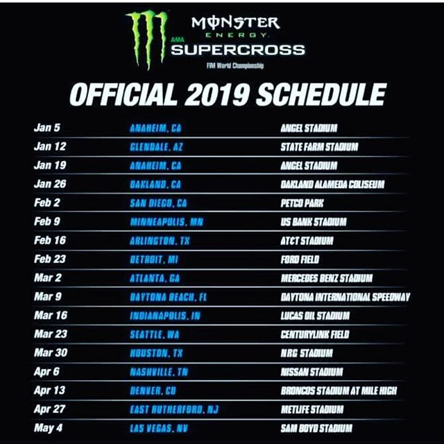 2019 SUPERCROSS calendar is confirmed. #supercrosslive