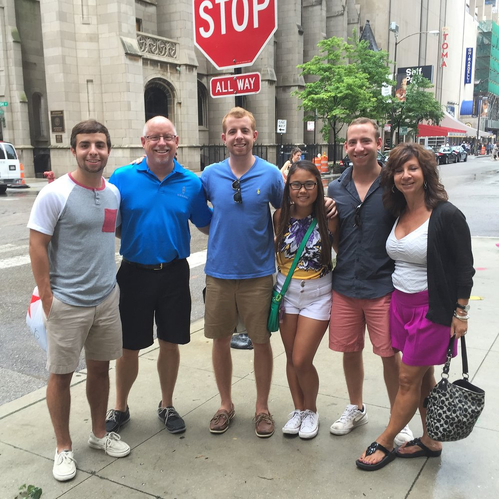 July 18, 2015 in Chicago for family weekend. Nick, Ed, Alec, Laney, Grant and Theresa. Our family of six.