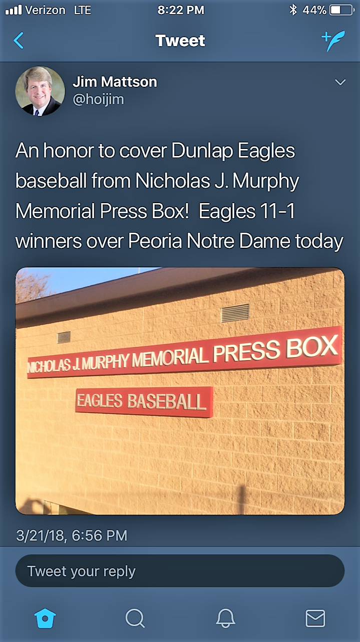 Jim Mattson covers a huge dunlap victory from the new Memorial Press Box - Jim Mattson covered a big Dunlap victory over Notre Dame from a beautiful afternoon at the new Press Box on March 21. Thank you for the shout-out, Jim!