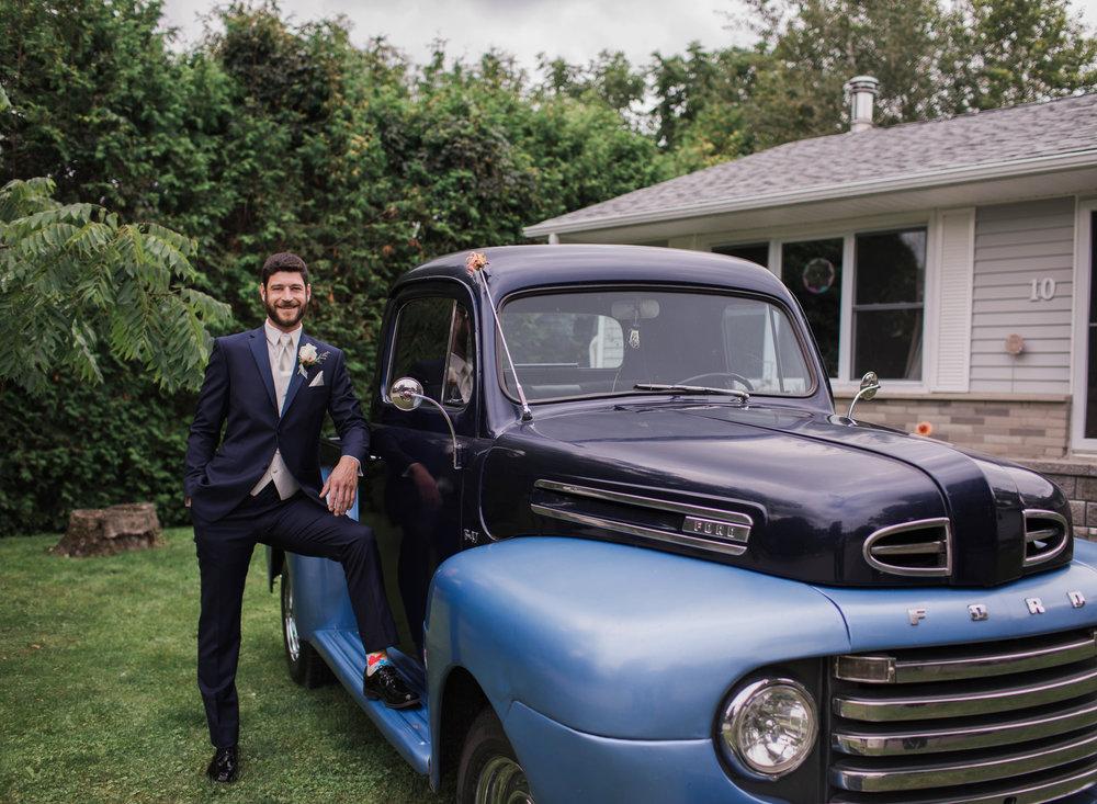 Morgan Bress Photography | Lindsay Wedding Photographer | Kawartha Lakes Wedding Photographer | Ontario Wedding Photographer |  Apple Orchard Wedding, Old truck, blue truck, wedding trucks