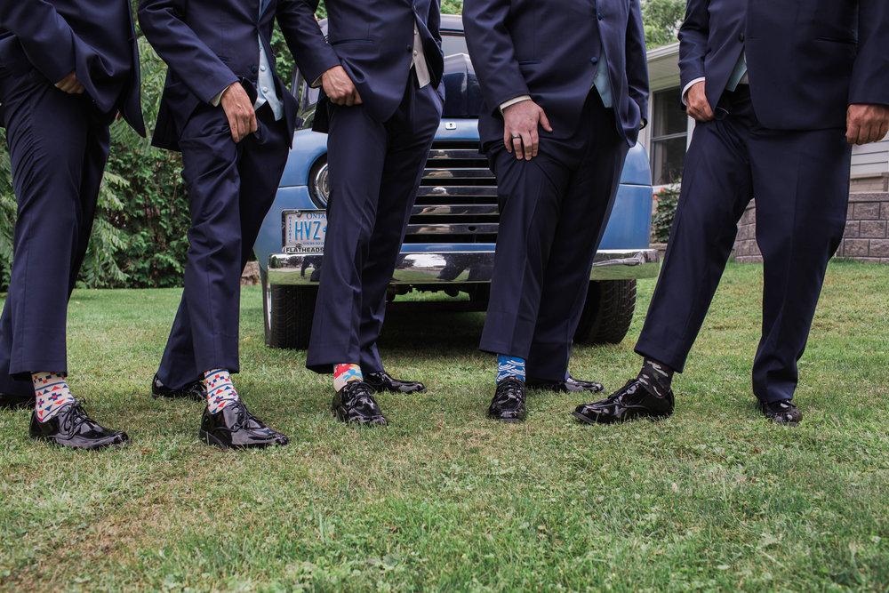 Morgan Bress Photography | Lindsay Wedding Photographer | Kawartha Lakes Wedding Photographer | Ontario Wedding Photographer |  Apple Orchard Wedding, Old truck, blue truck, wedding trucks, mens socks