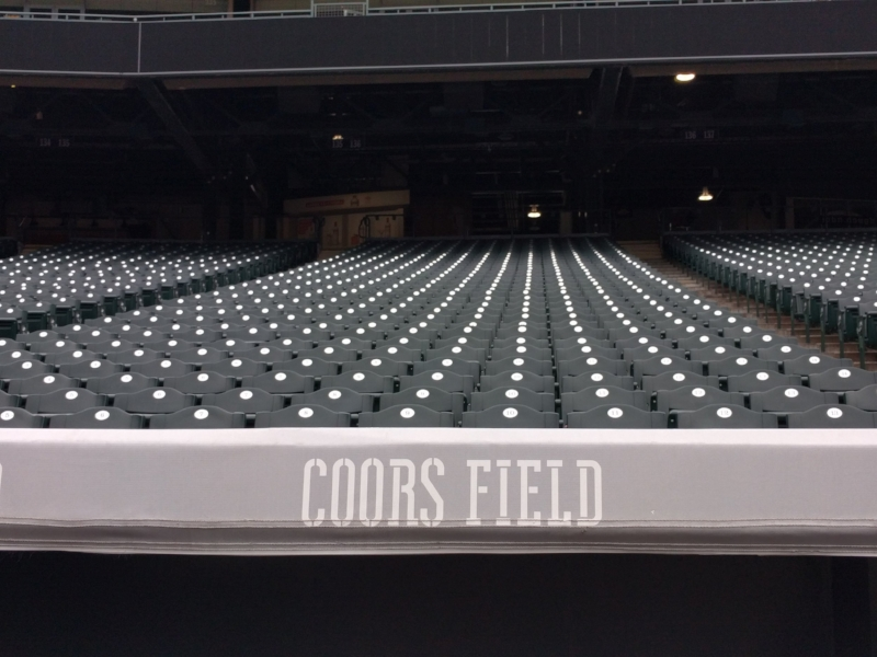 Seats inside Coors Field in Denver, Colorado