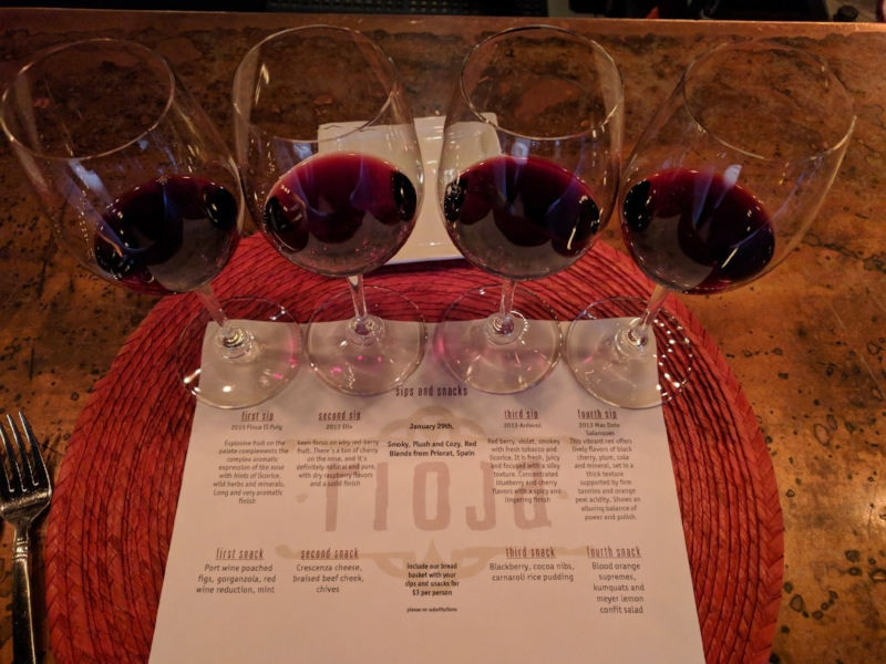 Sips and Snacks Red Wine Flight at Rioja Denver
