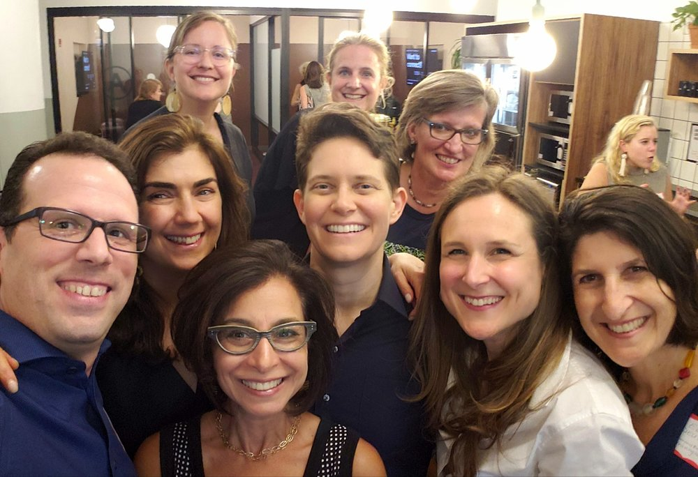A photo by Steffen Kaplan of some of the people at the Encore happy hour I attended. Front row, L-R: Steffen, Marci Alboher, Lindsey Pollak and Elena Deutsch. 2nd row: Alisa Cohn, Dorie Clark, Tami McLaughlin. Back row: Me, Ruth Rathblott.