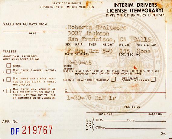 Roberta Breitmore's driver's license. Image credit:  Lynn Hershman Leeson .