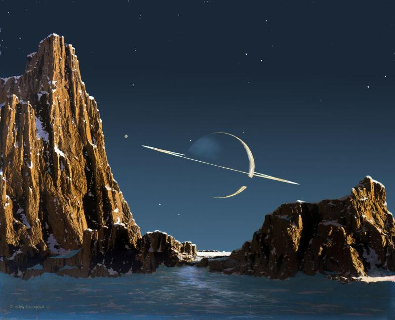Saturn, As Seen from Titan  (1944). Image credit:  Bonestell.org