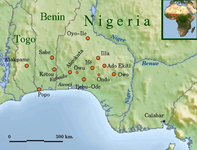Historic Yorubaland. Image credit: CommonRollebon,  CC BY-SA 3.0 .