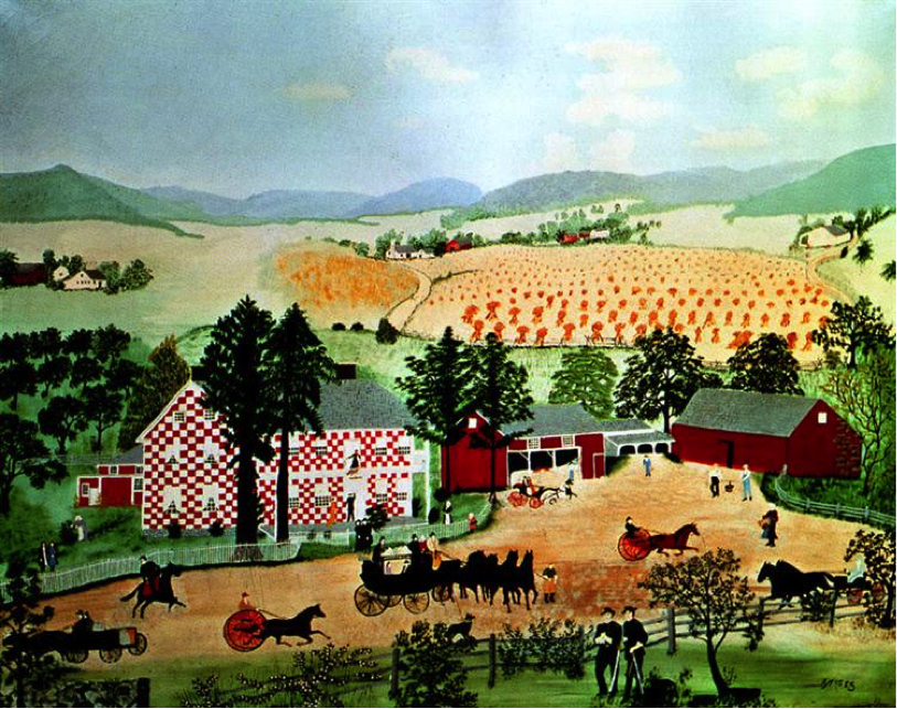 Checkered House , Grandma Moses (1943). Image credit:  https://www.wikiart.org/en/grandma-moses/checkered-house-1943 .