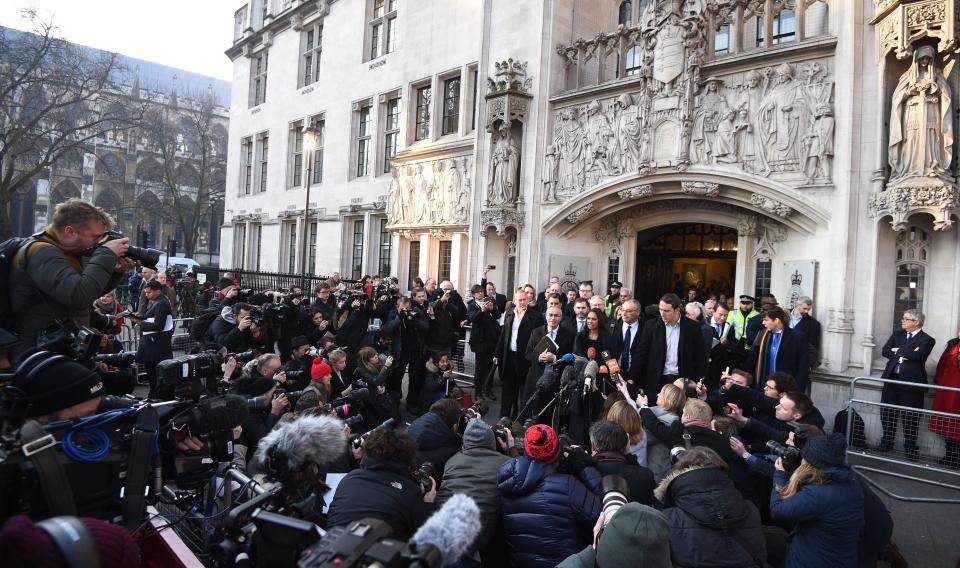 Location:  Outside the Supreme Court (London, UK)  Description:  Intense media coverage & death threats to primary principal resulted in a British member of the aristocracy being sentenced to prison
