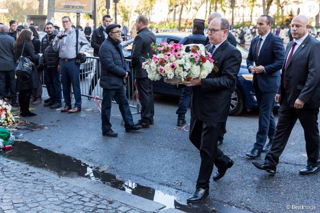 Location:  Bataclan Theatre (Paris, France)  Description:  His Serene Highness Albert II, Sovereign Prince of Monaco placing flowers to honor the fallen victims of the attack on the Bataclan Theatre (CA Security Services Ltd. supplied 3 licensed armed security officers placed in the crowd, plus myself on-site directing the team)
