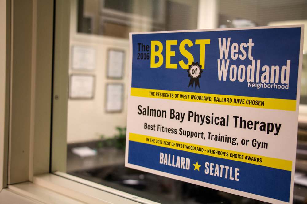 Award sign inside Seattle office
