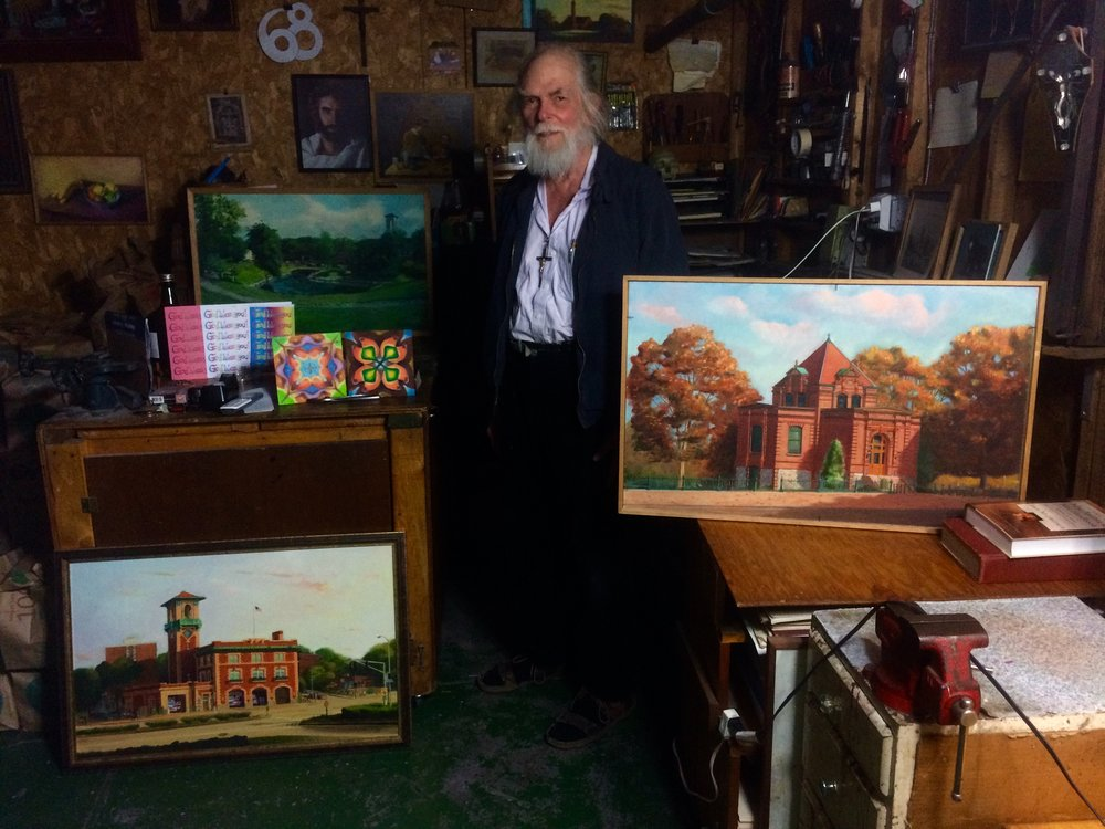 Alfred Mira with his works - Allston, Ma. 2017
