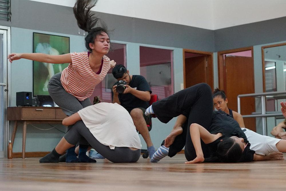 Dancers Sofia Costales, Mika Fabella in rehearsal
