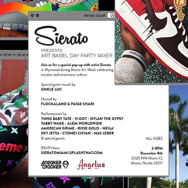 Free ART BASEL Day Party!!! Today 2-8 PM. We live in Miami @sierato day event ..Hosted by me and @flockaland . @staypositiveinc pop up . My Favorite Alien @neilaofficial will performing live and many more. Come out!! RSVP link on flyer #SieratoArtBasel cc: @yusufyuie @_kingshabazz_
