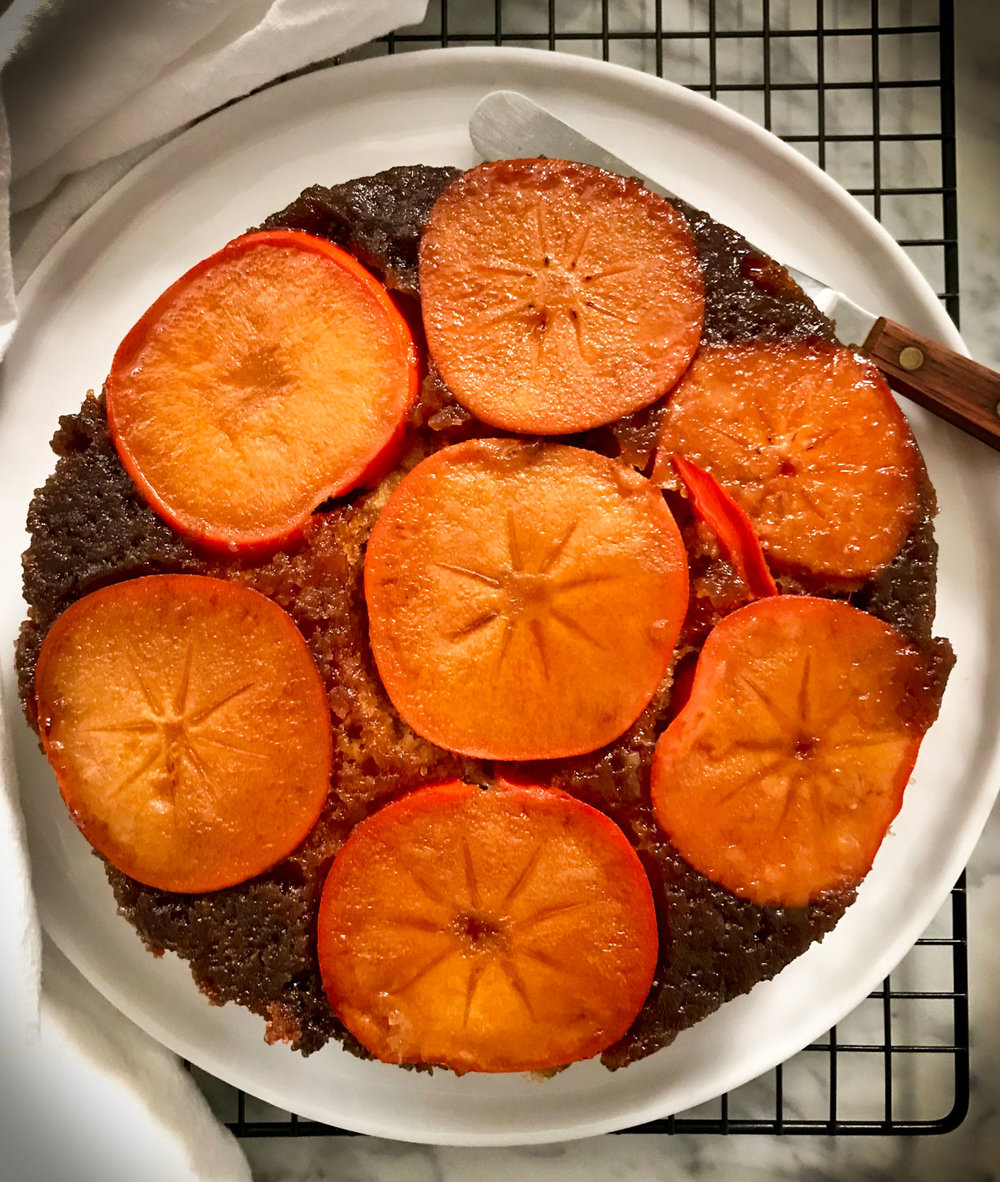 Top View of Persimmon Cake on Plate