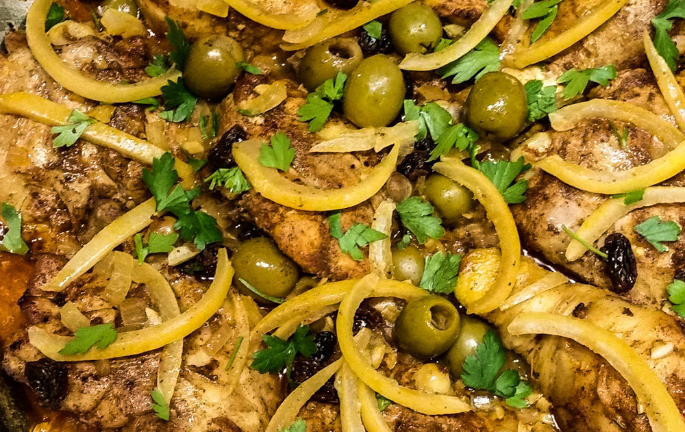 Yum! Spicey Moroccan Chicken with Preserved Lemons.