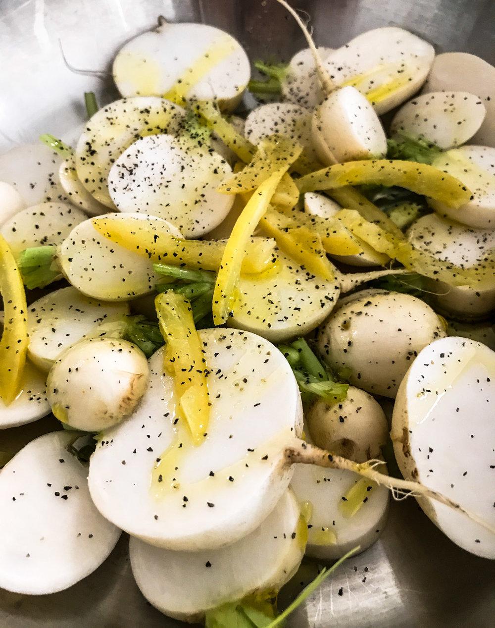 Turnips Prepped for Roasting