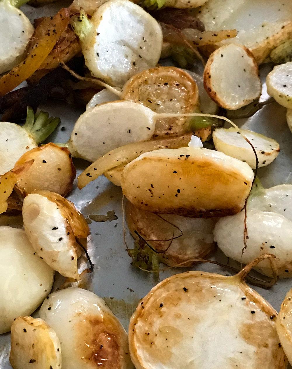 Roasted turnips with preserved lemon.