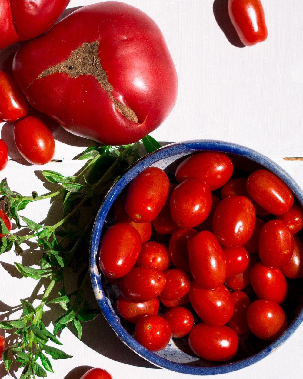 Cherry tomatoes and fresh basil. Yum!