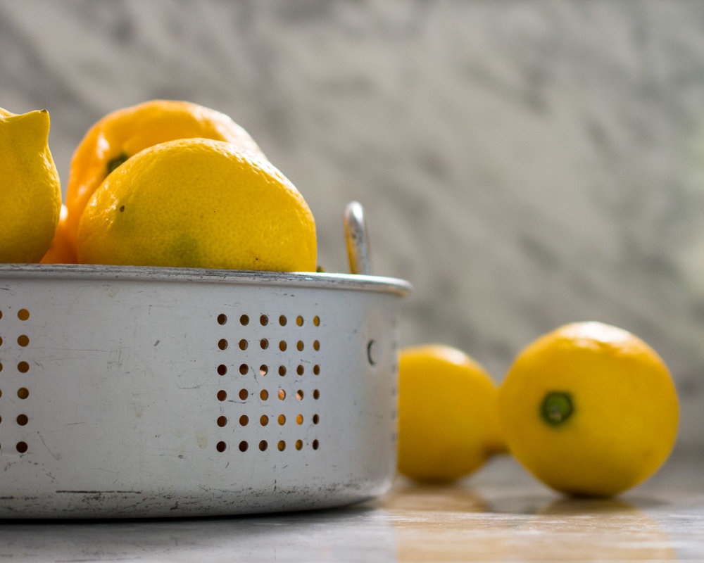 Meyer lemons, washed and ready to zest and juice.