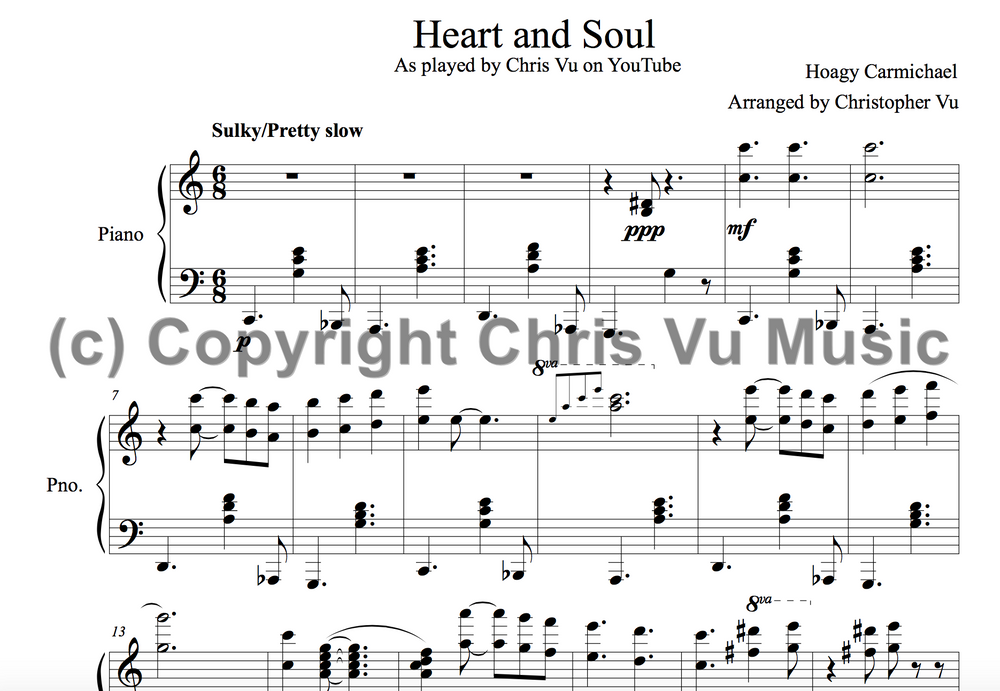 Heart And Soul Piano Arrangement Chris Vu