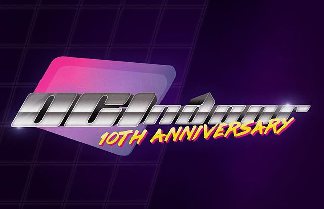 "Bright and fun 10th Anniversary celebration graphic done for OC Indoor in a nostalgic 80's style to compliment their show, ""Once In A Lifetime."" #wgi #ocindoor #oci #piw #diddleband"