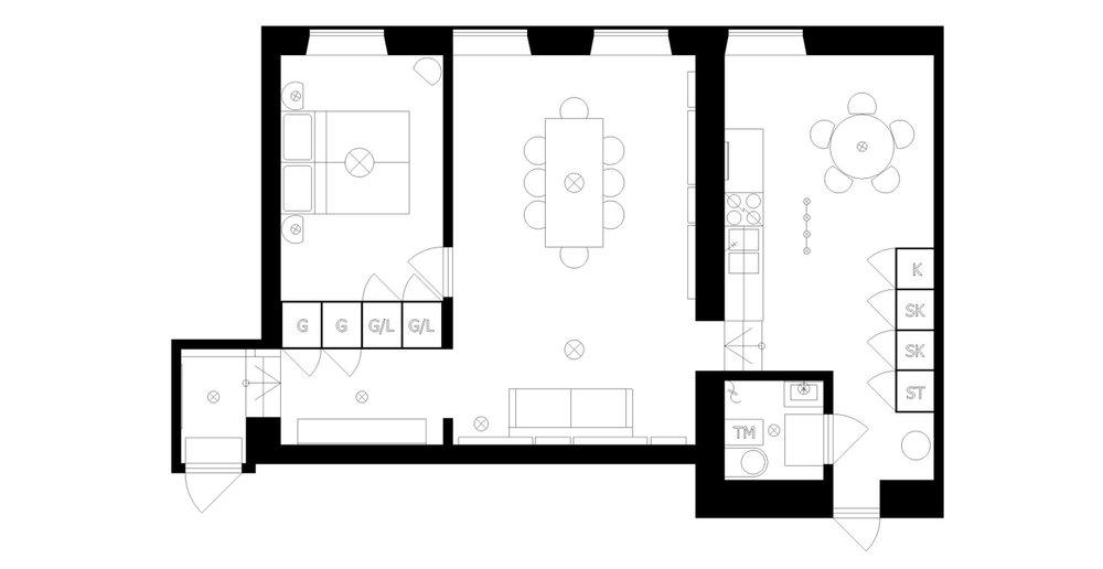 Bottenplan över Artist in Residence-lägenhet.
