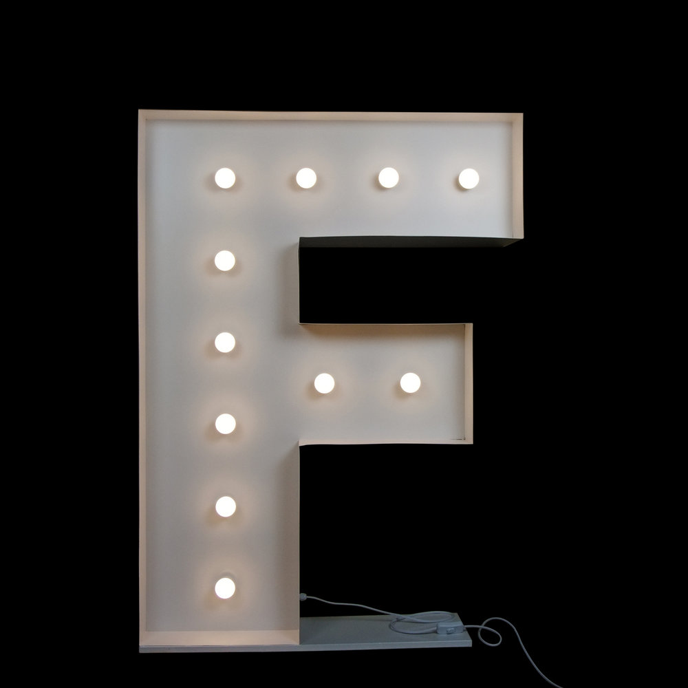 wedding letters - light up letter F Gold coast