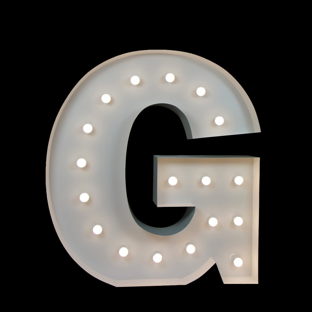 Giant letter G - Light Up Letters for Hire Brisbane
