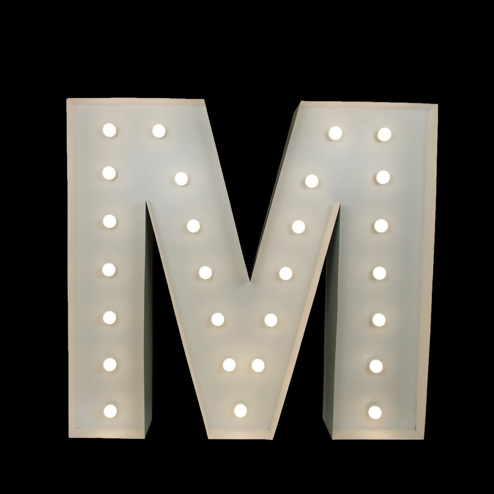 light up letter M - wedding & Event Hire