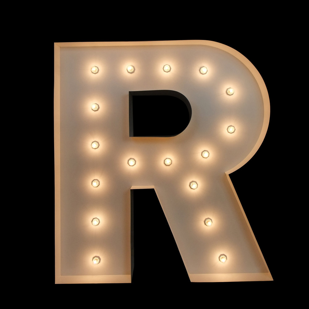 "Light Up Letter ""r"" for hire - events & Weddings"