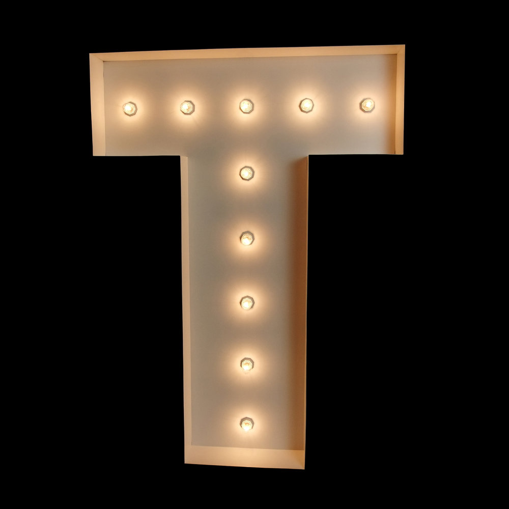"Giant ""T"" Light Up letter for hire"