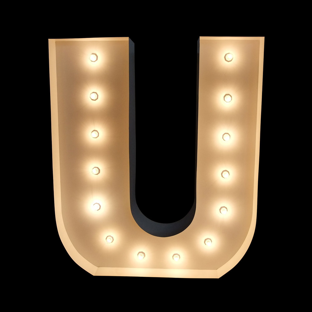 "Giant letter ""U"" for hire for events"